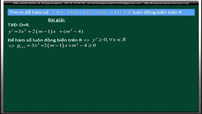 Tìm m để hàm số đồng biến trên R, nghịch biến trên R