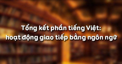 Soạn bài Tổng kết phần tiếng Việt: hoạt động giao tiếp bằng ngôn ngữ